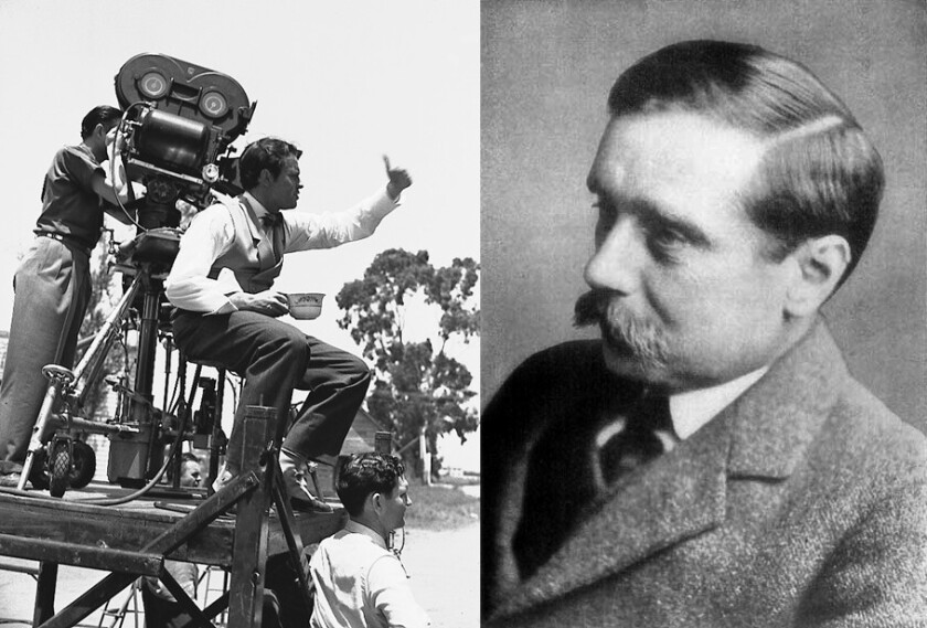 """Orson Welles, left, on the set of his film """"Citizen Kane."""" At right, author H.G. Wells."""