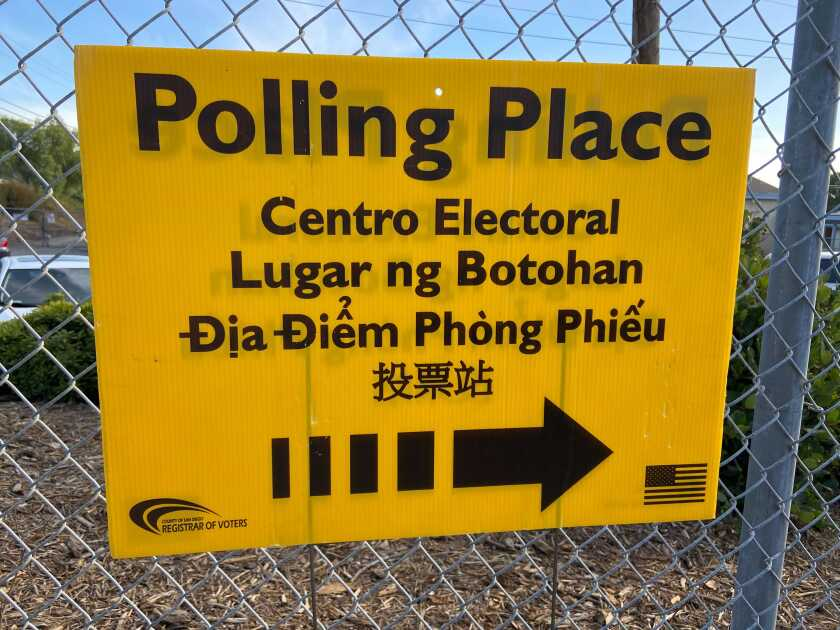 Sign outside a polling place in Chula Vista