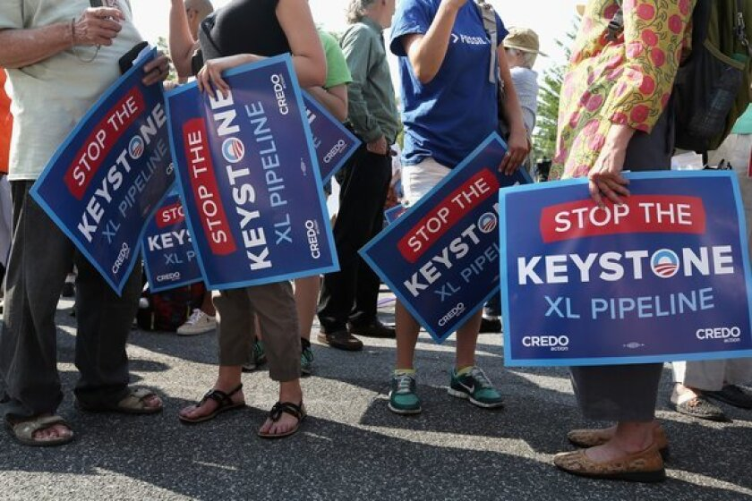Activists in Washington protest the proposed Keystone XL pipeline.