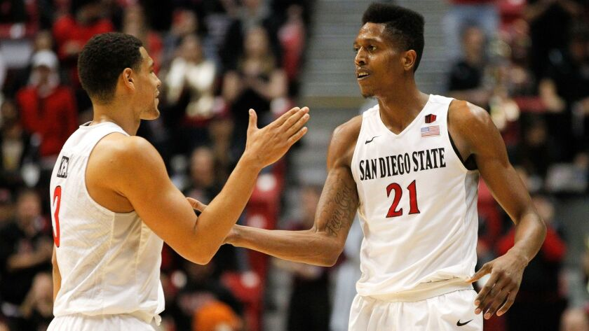 SAN DIEGO, February 27, 2018   The Aztecs' Malik Pope, right, and Trey Kell celebrate in the final s