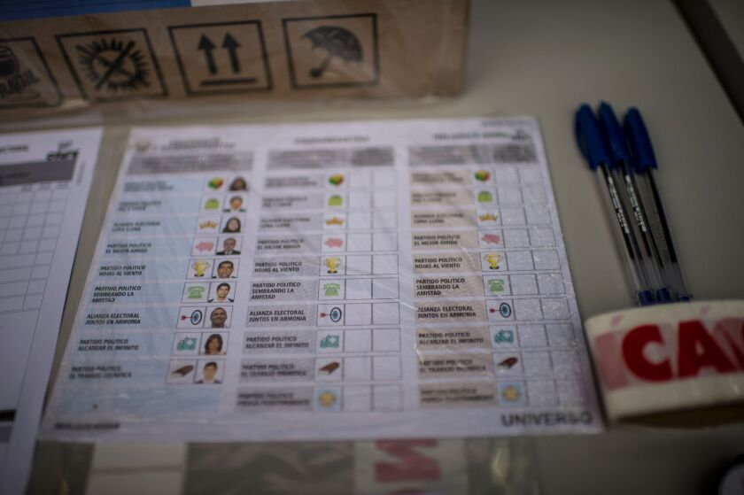 A Peruvian ballot at a polling station in Lima on the eve of presidential and general elections.
