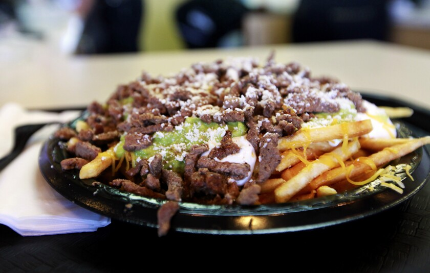Carne asada fries at Lolita's Mexican Restaurant, located near Petco Park in San Diego's East Village.