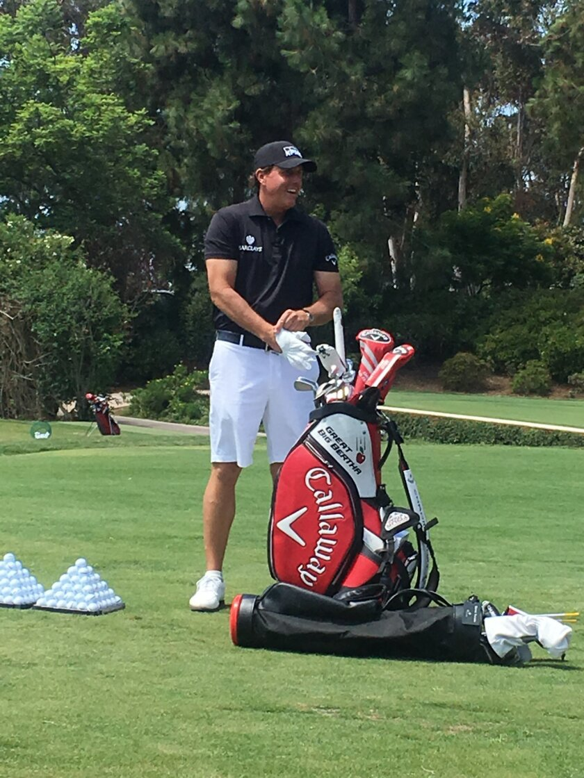 Five-time major champion Phil Mickelson at the recent 25th anniversary celebration of Aviara Golf Club in Carlsbad.