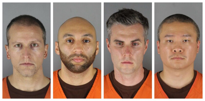 Jailhouse mug shots of the four former Minneapolis police officers charged with violating George Floyd's civil rights