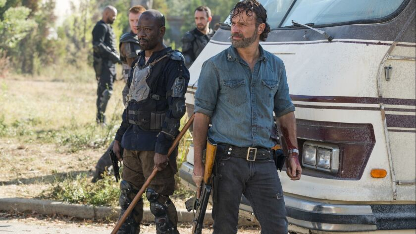 "Lennie James as Morgan Jones, left, and Andrew Lincoln as Rick Grimes in ""The Walking Dead."""