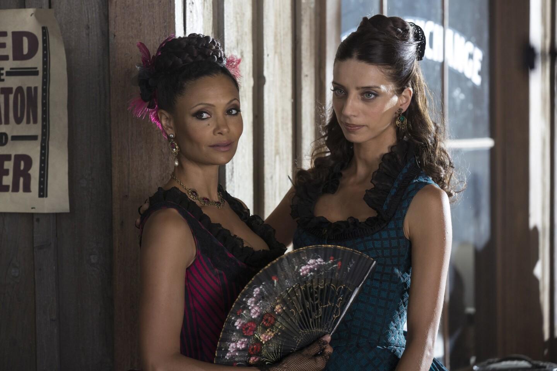 """Thandie Newton, left, and Angela Sarafyan in """"Westworld."""""""