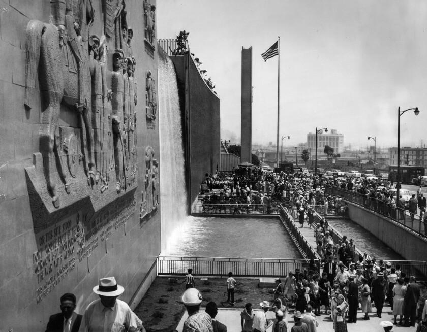 July 3, 1958: Crowd at dedication of Fr. Moore Pioneer Memorial Wall on Hill St. north of Hollywood
