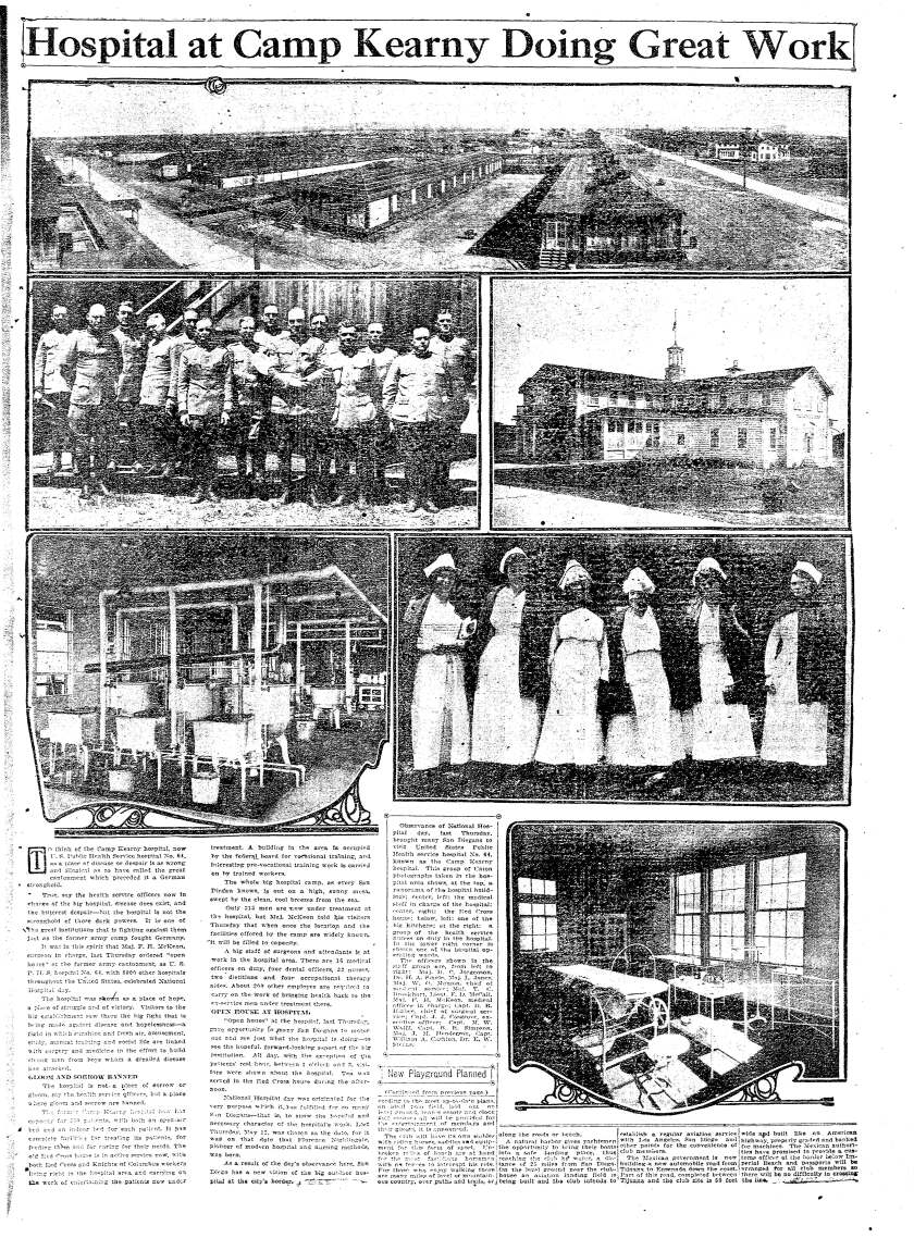 May 15, 1921 page with photos of Camp Kearny on Hospital Day.