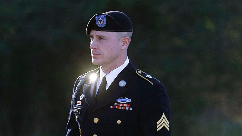 In this Jan. 12, 2016, file photo, Army Sgt. Bowe Bergdahl arrives for a pretrial hearing at Fort Bragg, N.C.