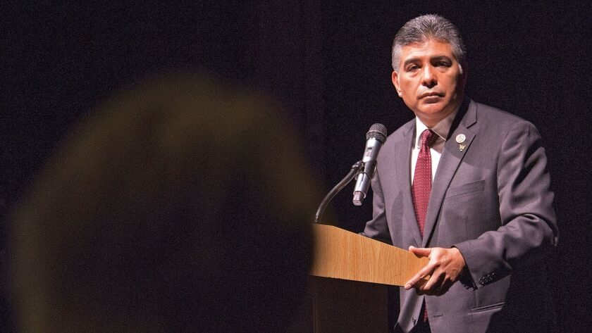 Democratic Rep. Tony Cardenas holds a town hall meeting in San Fernando to answer questions about healthcare, immigration and climate change.