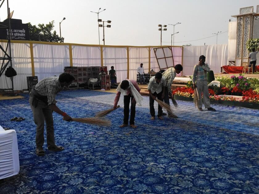 Wedding reception preparations in Mumbai