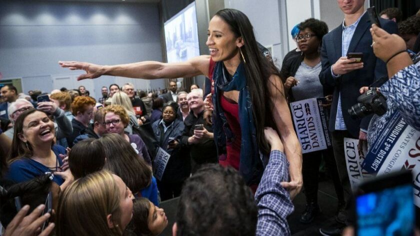 Democratic House candidate from Kansas Sharice Davids wins her House seat, Olathe, USA - 06 Nov 2018