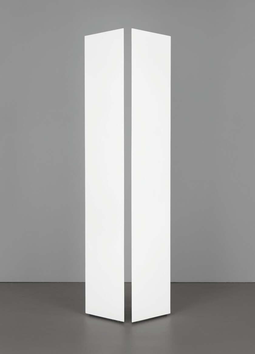 Mary Corse, Untitled (Two Triangular Columns), 1965, acrylic on wood and plexiglass.jpg