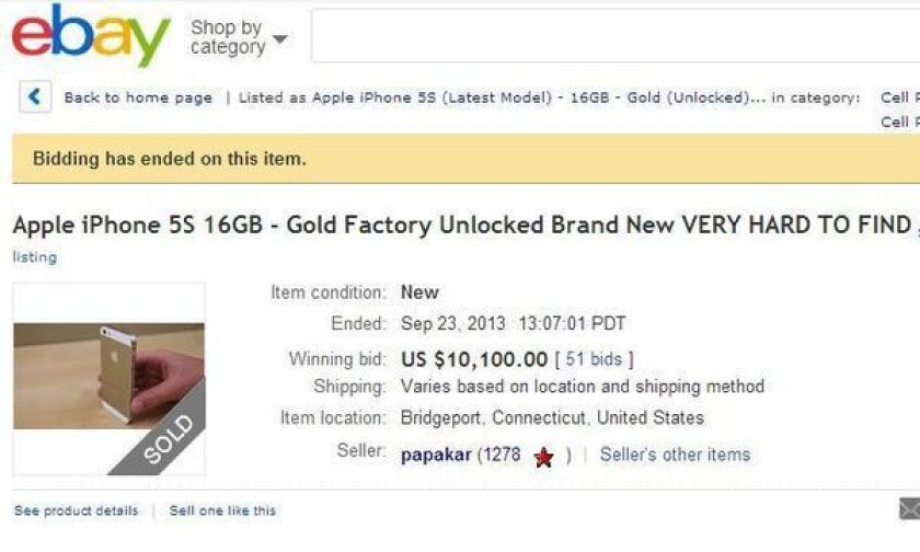 Oops Ebay Seller Cancels Sale Of Gold Iphone 5s For 10 100 Los Angeles Times