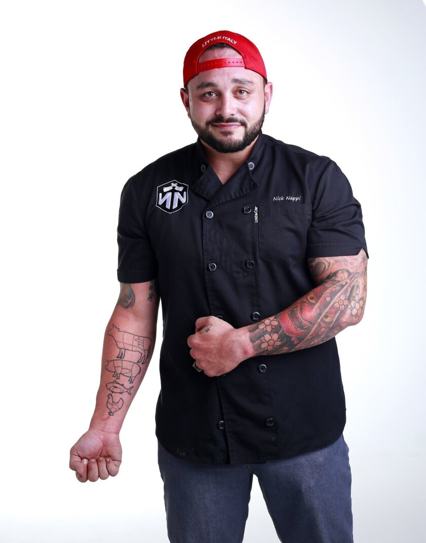 Nick Nappi, Executive Chef at Bar One in Little Italy, fondly recalls that his parents weren't too thrilled with his initial tattoo. K.C. Alfred U-T