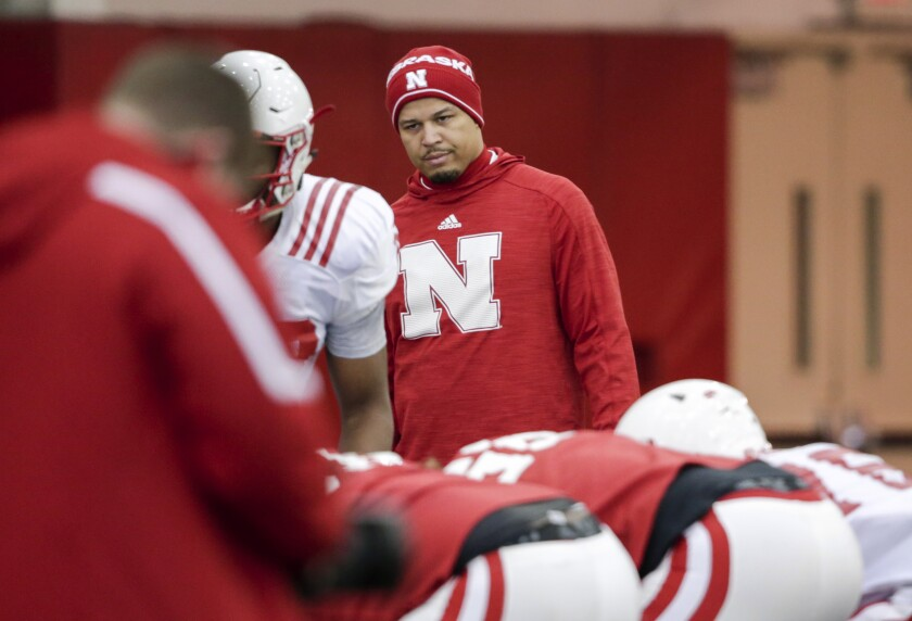 Donte Williams observes a drill during his stint as a cornerbacks coach at Nebraska in 2017.