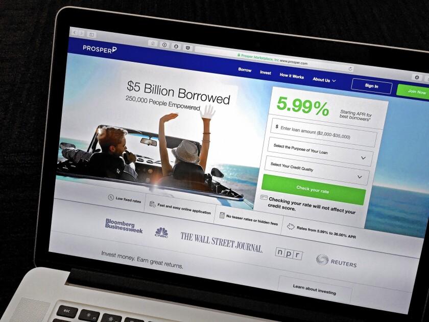 The website for Prosper, an online marketplace lender.