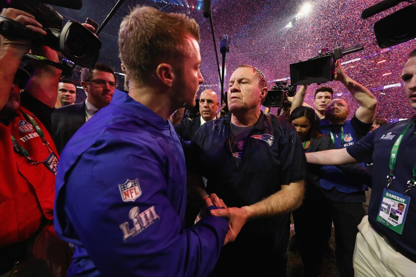 Rams coach Sean McVay, left, shakes hands with New England coach Bill Belichick after the Patriots' victory Super Bowl LIII on Feb. 3 in Atlanta.