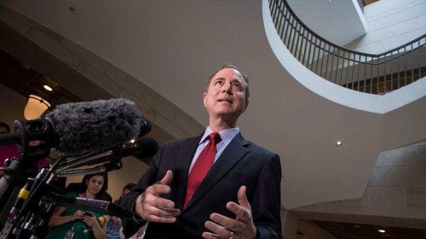 Rep. Adam B. Schiff (D-Burbank) speaks to reporters on July 11, 2017.