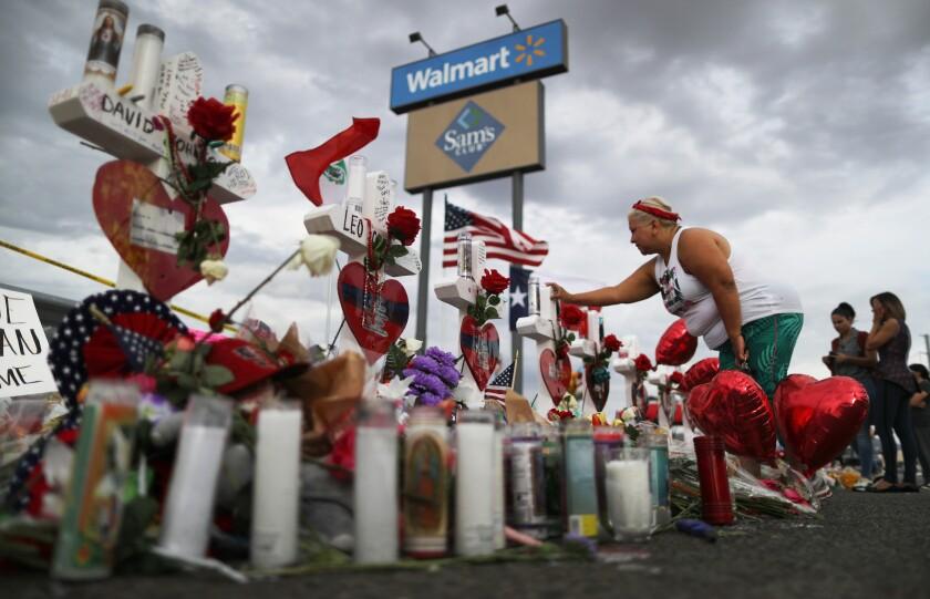 Makeshift memorial at Walmart in El Paso