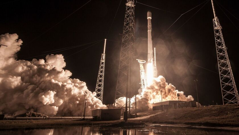 A SpaceX Falcon 9 rocket launches the classified Zuma satellite at Cape Canaveral, Fla., in January.