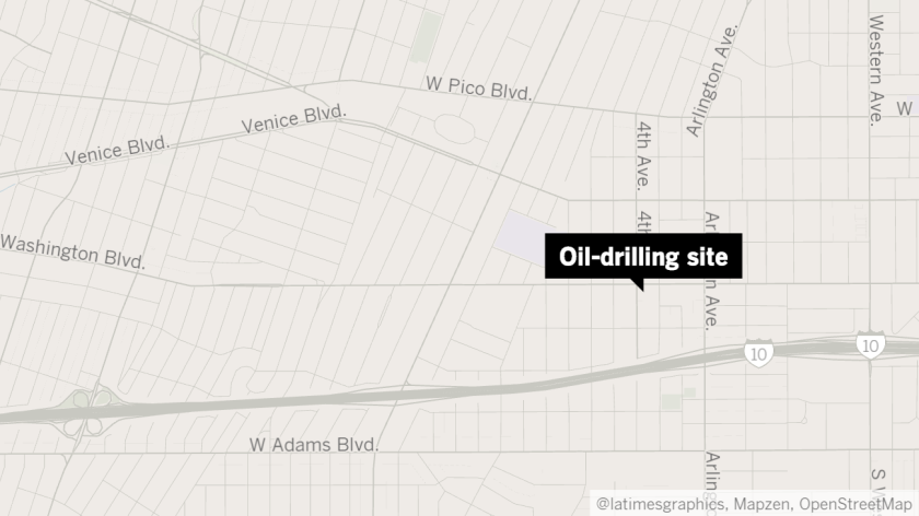 Map shows approximate location of oil-drilling site.