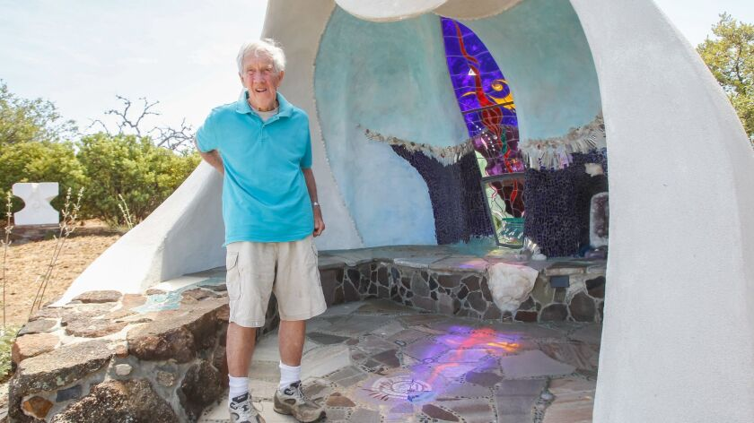 SAN DIEGO, CA May 31st 2018 | Artist James Hubbell stands at the chapel he built on his property in