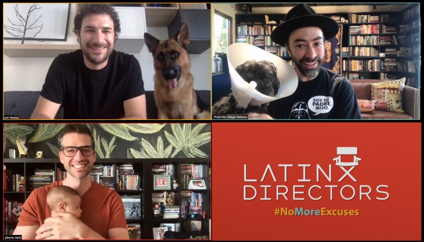 Directors Joel Novoa, Diego Velasco and Alberto Belli pose with their dogs and babies over Zoom.