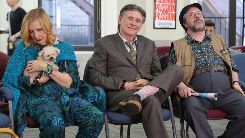 "Frances Conroy, Gabriel Byrne, center, and Nathan Lane in the movie ""No Pay, Nudity."""