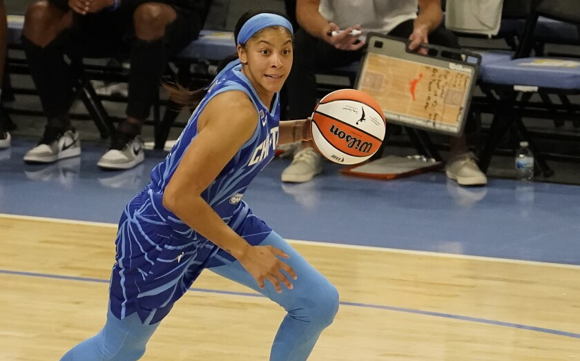 Chicago Sky's Candace Parker starts the fast break.