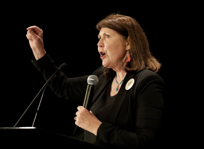 """FILE - IN this Nov. 8, 2016 file photo, Democratic senatorial candidate U.S. Rep. Ann Kirkpatrick, D-Ariz., speaks to supporters during an election night party in Phoenix. Kirkpatrick said Wednesday, Jan. 15, 2020, that she's taking time off from her congressional duties to seek treatment for alcohol dependence after a """"serious"""" fall. Kirkpatrick, said she's """"finally seeking this help after struggling to do so in the past."""" (AP Photo/Matt York)"""