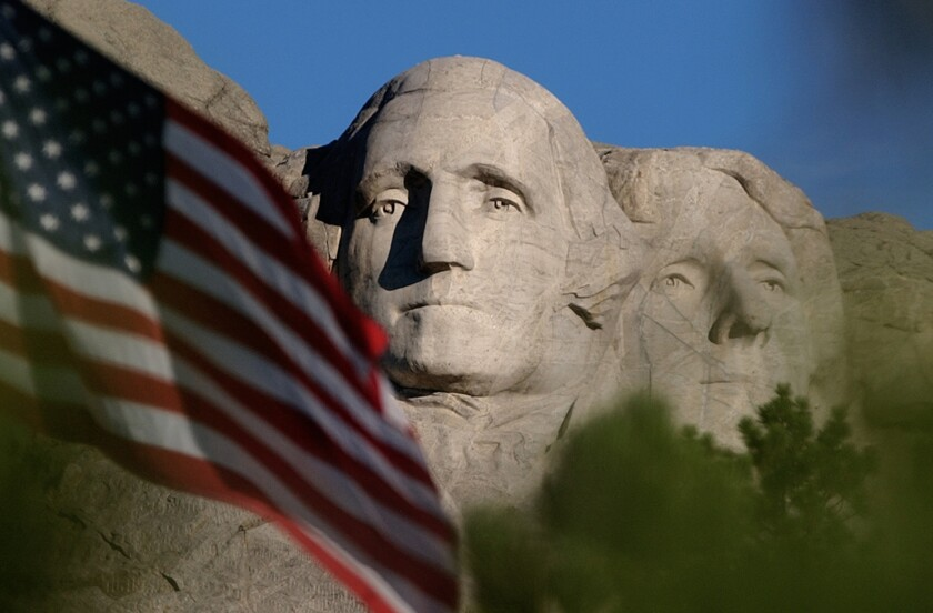 President Trump said Thursday that the radicals burning flags would love to rip down Mt. Rushmore.