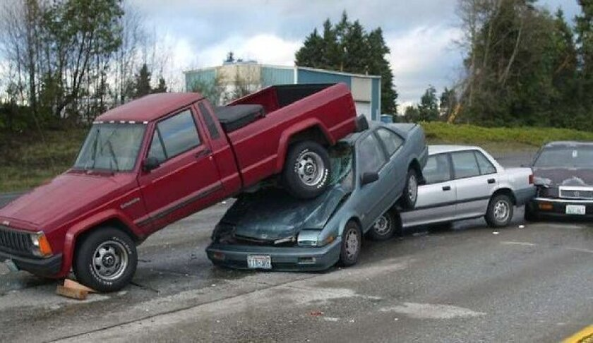 The aftermath of a chain-reaction collision on Interstate 5 in Federal Way, Wash., in 2002.