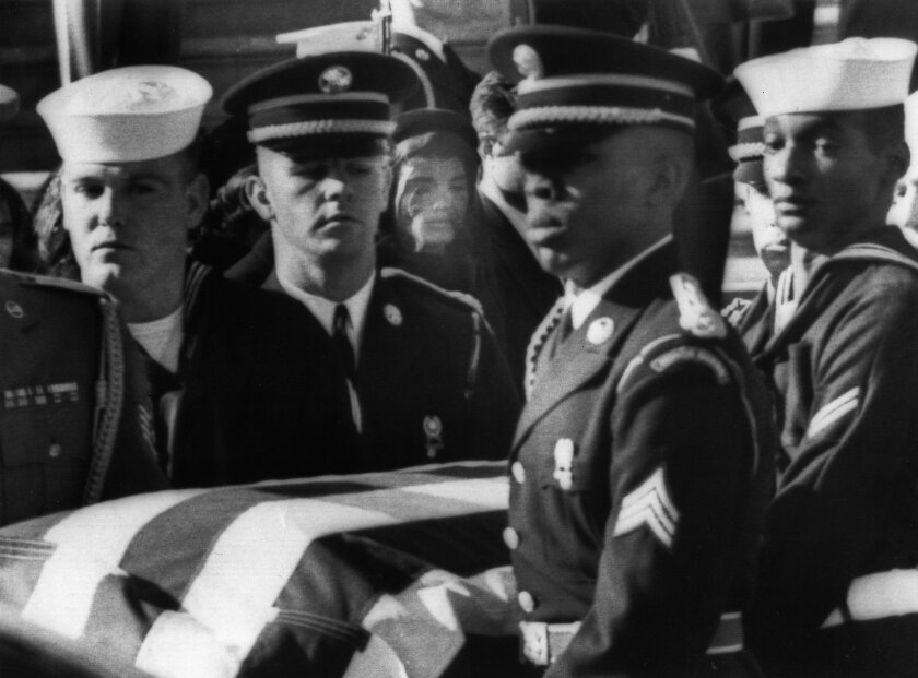 Mayfield, second from left, helps carry President Kennedy's casket.