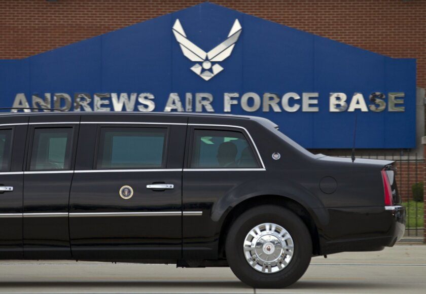In this photo taken July 15, 2016, President Barack Obama rides in his limousine as he arrives at Joint Base Andrews, Md.  Joint Base Andrews tweets that the base is on lockdown due to a report of an active shooter. The tweet sent Thursday, June 30, 2016, instructs all personnel at the base in Wash
