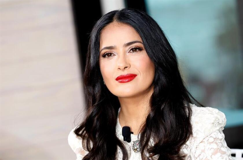 Mexican actress Salma Hayek poses during the 'Kering Women in Motion Talk' photocall at the 71st annual Cannes Film Festival, in Cannes, France. EFE/EPA/FILE