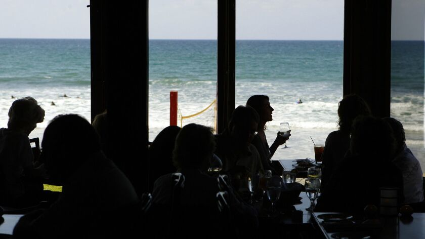 October 6, 2009, 2009,-San Diego CA,- Patrons have lunch at the oceanfront Jake's Del Mar on Tuesda