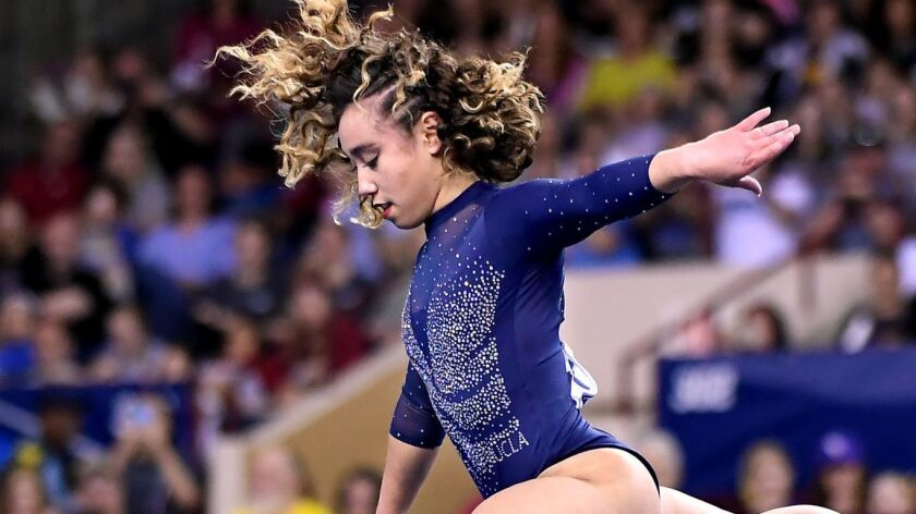 FT. WORTH, TEXAS APRIL 20, 2019-UCLA's Katelyn Ohashi competes on the floor exercise for the last ti