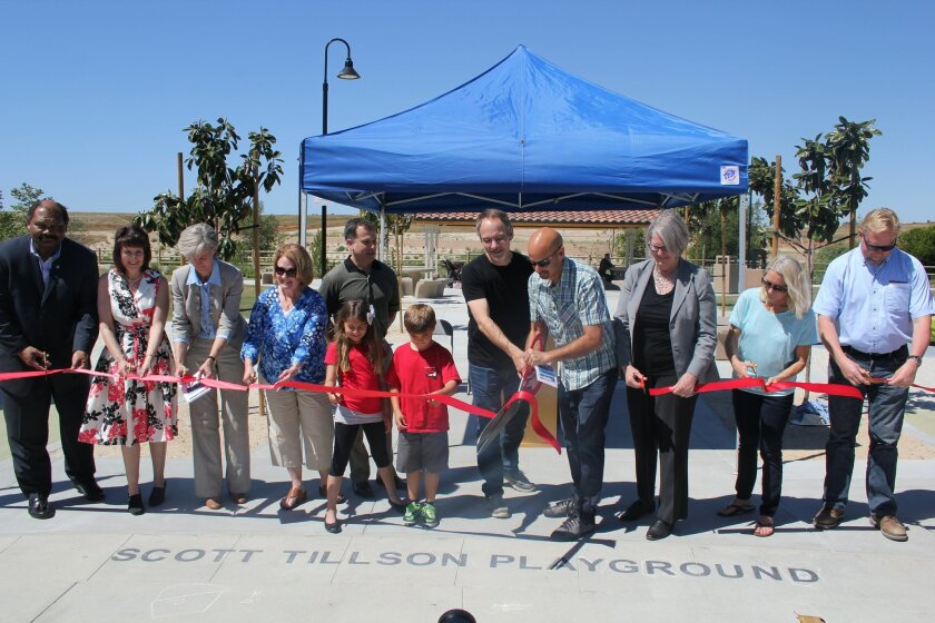 A ribbon cutting ceremony at the Solana Ranch Park on the Scott Tillson Play-ground was held on March 27.