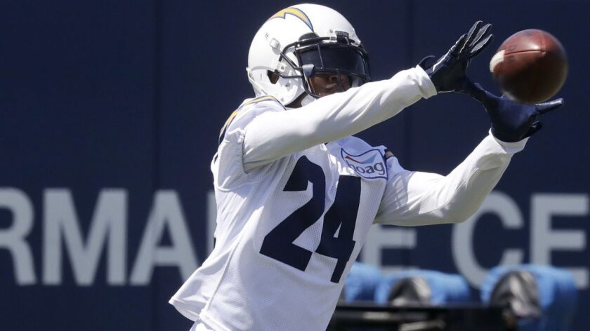 Los Angeles Chargers' Trevor Williams reaches for the ball during the NFL football team's minicamp T