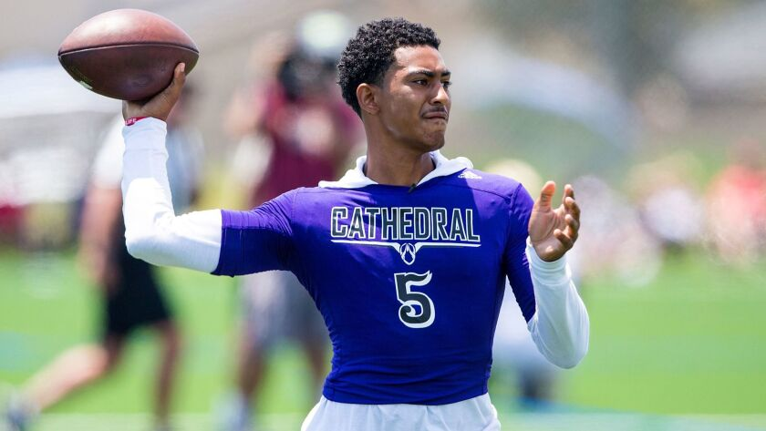 Bryce Young wears his Los Angeles Cathedral jersey at the Edison passing tournament on July 8. Young has announced he will play for Santa Ana Mater Dei next season.