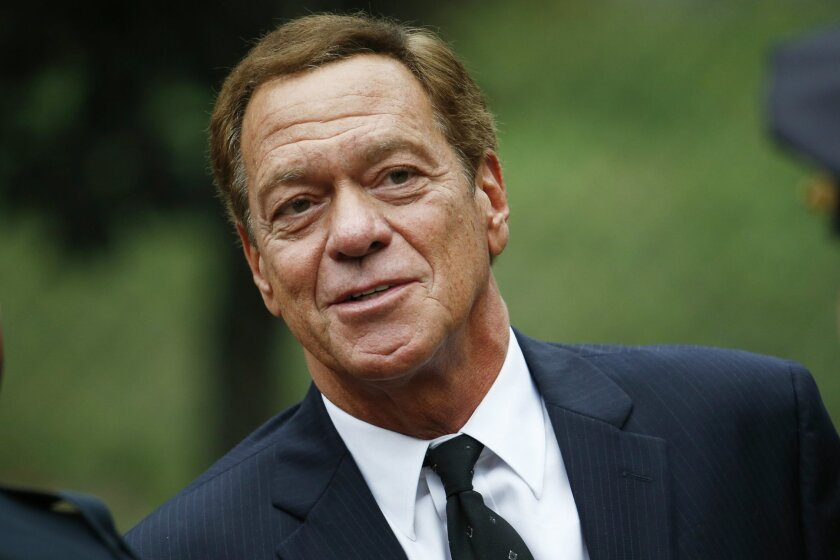 """FILE - In this Sept. 29, 2015 file photo, comedian Joe Piscopo arrives at Church of the Immaculate Conception prior to funeral services for New York Yankees Hall of Fame catcher Yogi Berra in Montclair, N.J.  A woman has admitted stealing money from the former """"Saturday Night Live"""" cast member. Und"""