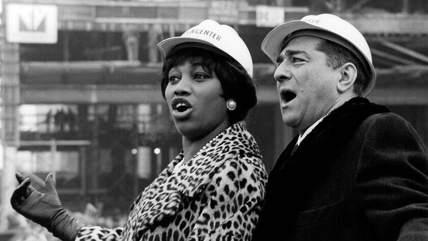 "Leontyne Price and Robert Merrill during construction of the new Metropolitan Opera House at Lincoln Center, Jan. 20, 1964, from the documentary ""Opera House."""