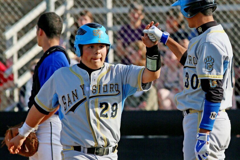 San Ysidro freshman Conrado Diaz (29) hit .394 with four home runs and 28 RBIs in helping the Cougars to a San Diego Section title this spring.