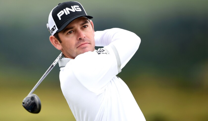 Louis Oosthuizen hits a tee shot during practice ahead of the 144th Open Championship on Monday.
