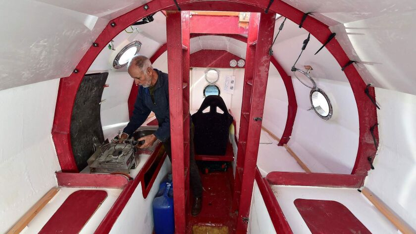 A view inside adventurer Jean-Jacques Savin's barrel ship, which has about 65 square feet of living space.