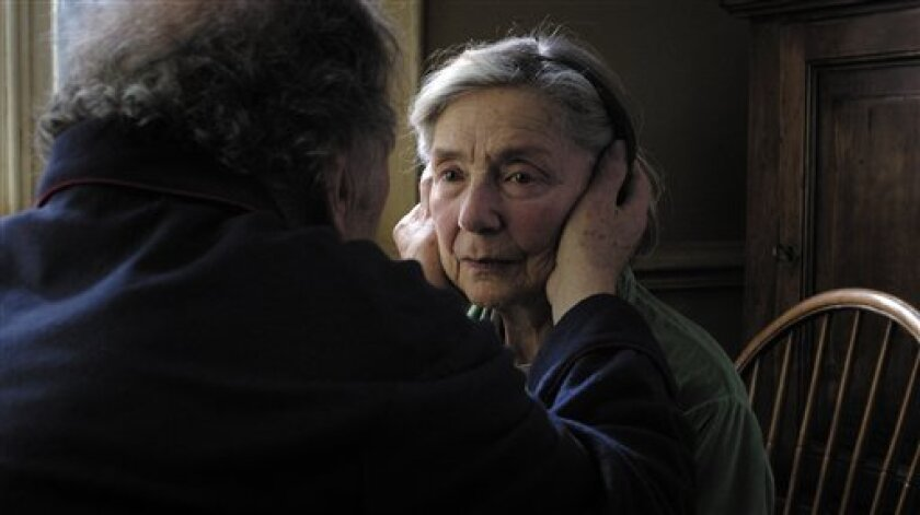"""This image released by Sony Pictures Classics shows Emmanuelle Riva in a scene from """"Amour."""" Riva was nominated  for an Academy Award for best actress on Thursday, Jan. 10, 2013, for her role in """"Amour .""""  The 85th Academy Awards will air live on Sunday, Feb. 24, 2013 on ABC. (AP Photo/Sony Picture"""