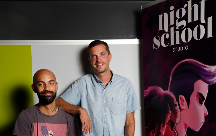Night School Studio developers and owners Adam Hines, left and Sean Krankel