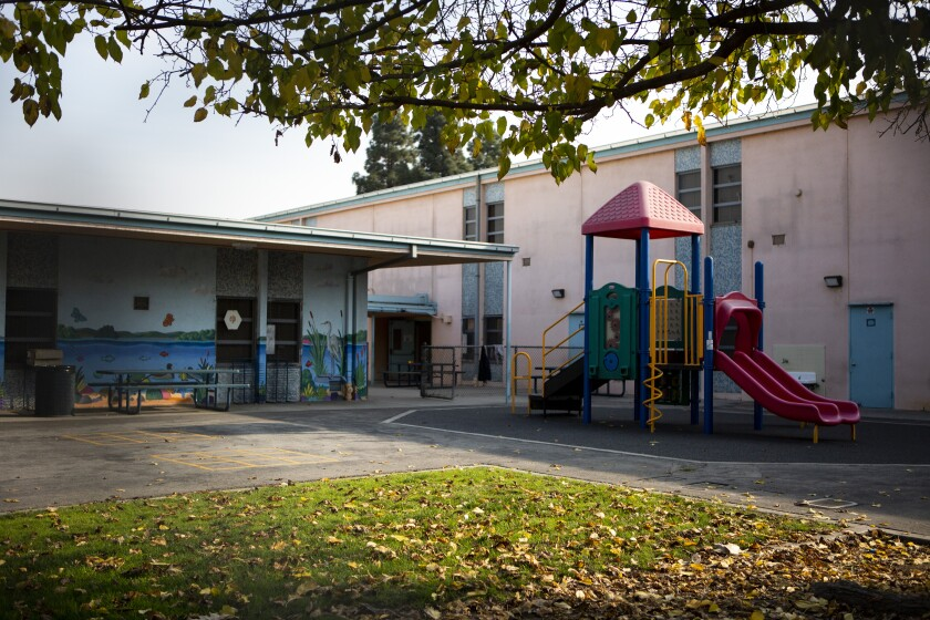 An empty playground at Park Avenue Elementary School in Cudahy after jet fuel was dumped on students playing on the playground.