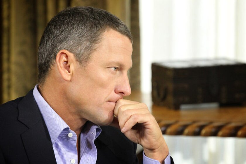 Lance Armstrong is seen during his interview with Oprah Winfrey regarding the controversy surrounding his cycling career in Austin, Texas.